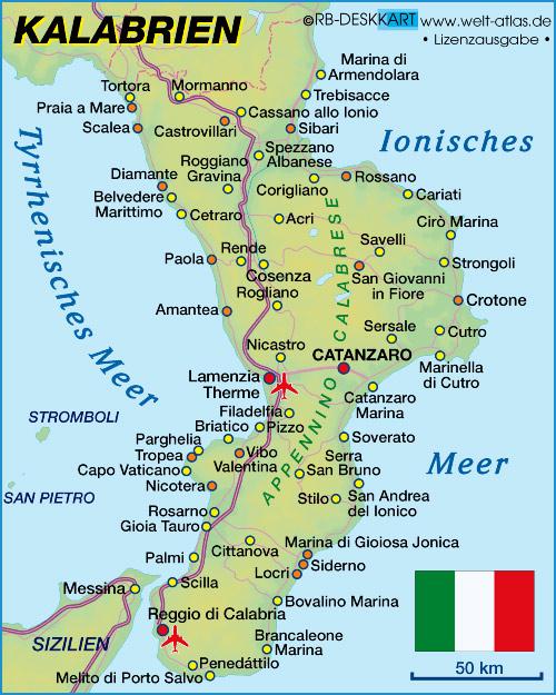 Landkarte Kalabrien